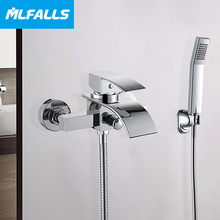 Wall mount single handle brass waterfall chrome tap mixers shower with hand shower