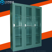 waterproof metal storage cabinet glass 3 width steel cupboards design