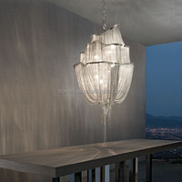 Contemporary Silver Hotel Chandeliers Chain Shining Luxury Chandelier Lighting
