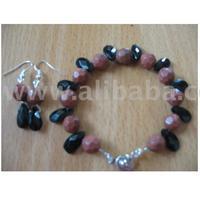 Sunstone And Blackonyx Teardrop Bracelet And Earrings Set For Sale
