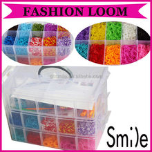 Newest Fashion DIY Three Layers 4000pcs Silicone Rubber Loom Bands for Bracelet