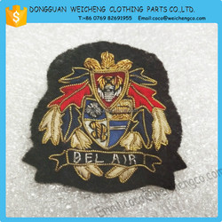 handmade embroidery badges high quality/Handmade embroidery bullion golden badge/Handmade embroidery patch