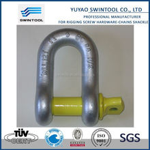 SGS certificated hardened steel load rated bow shackle with safety pin