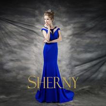 2015 Lake blue color high quality soft elegant draped chiffon mermaid muslim evening dresses with sleeves
