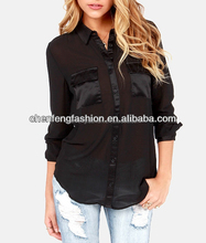 CHEFON The Reveal Thing Sheer Black Button-Up images of chiffon Tops CLS0014