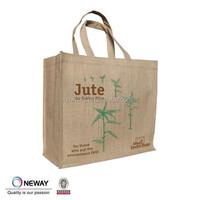 2015 natural jute wholesale tote bags,linen bags full printed,jute burlap gift bags