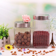 clear glass storage canister set with metal lid