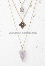 New Design Multilayer Natural Stone Chain Necklace Jewelry
