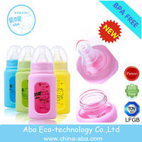 clear raw material of borosilicate glass baby bottle BPA free milk feeding bottle
