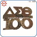 3d número de forma de metal con placa de oro de la galjanoplastia