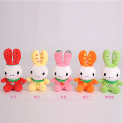 Fruit character 15cm stuffed rabbit,long legs and long ear plush stuffed rabbit toy