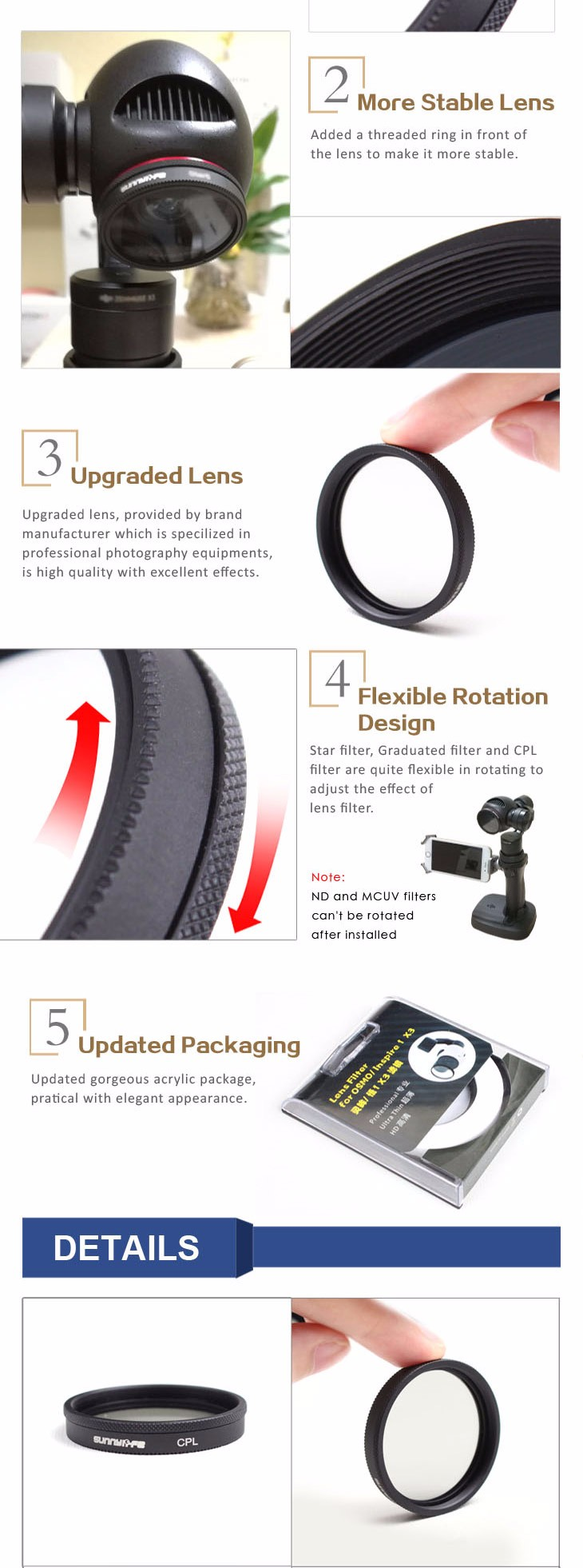 1pc Sunnylife Lens Filter CPL Filter Circular Polarizer Filter X3 Filter Accessory for DJI OSMO/ OSMO+/ Inspire 1