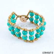 Fashion double layered turquoise beads bracelet wholesale handcraft jewelry