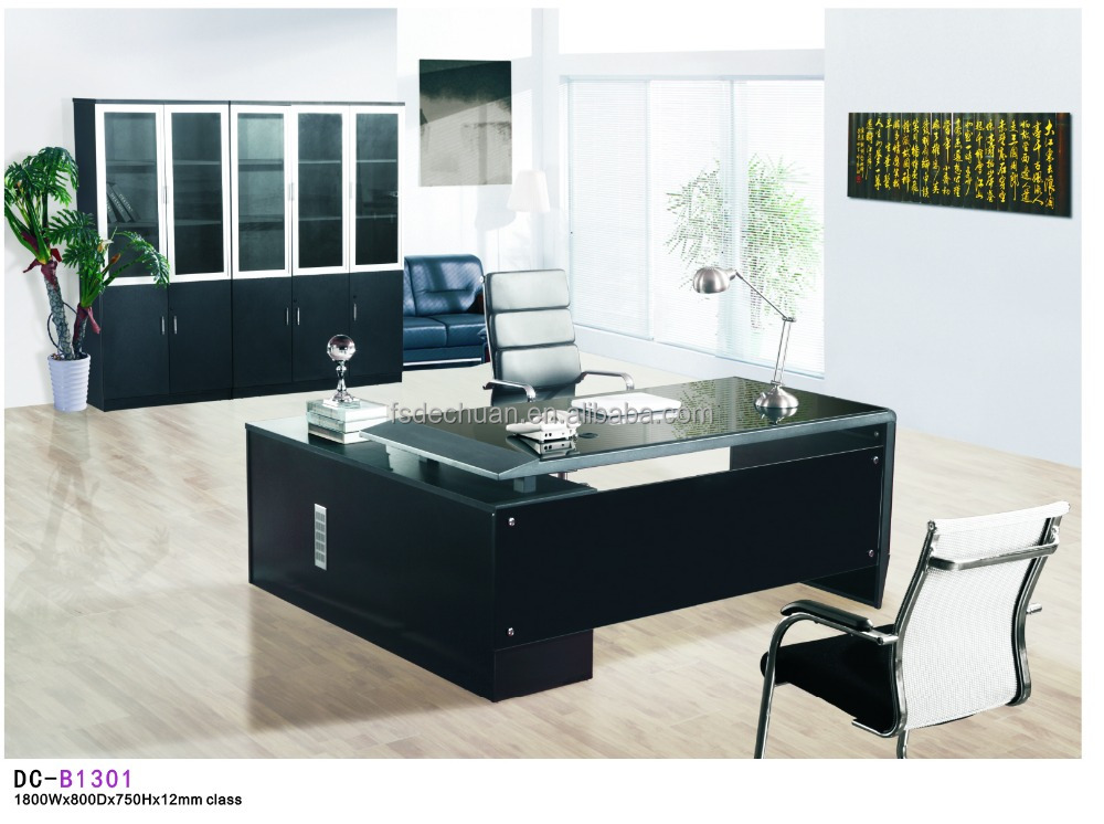 modern executive tempered glass office desk with mdf cabinet