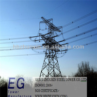 Steel galvanized lattice high tension electrical power 220kv transmission line towers