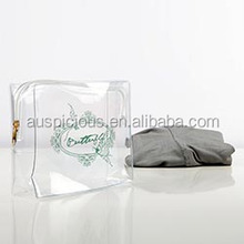 Specialized customer logo clear zipper bag for clothes
