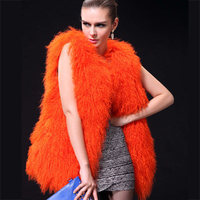 Winter Genuine Mongolia Lamb Fur Woman Vest Real Fur Long Sleeveless Blazer