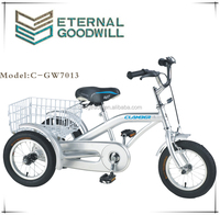 Baby tricycle with rear basket GW7013 single speed trike 12 inch 3 wheel pedal cargo bike