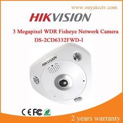 CCTV IP Camera Hikvision 3 Megapixel WDR Fisheye ip camera,360 degree camera