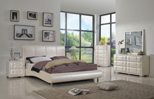 2015 Latest Contemporary Wood Bedroom Set with Bed, Dresser, Mirror, Night Stand, Chest, Queen,White(MB8023)