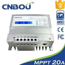 Controlador táctil con carga solar LCD de 20 A, 12 V, MPPT