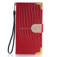 PU+PC Hybrid Cover For Samsung S6 Folio Case / Unique Mobile Skin For Samsung G9200 Galaxy S6 Bling Leather Case