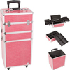 Aluminium Cosmetic Case Rolling Cosmetic Vanity Case Trolley Beauty Case KL-MC078