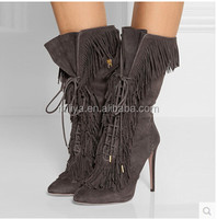 Women Boots Cross Lace-up High Heel Fringe Ankle Short Boots Gray Suede Real Leather Botas For Ladies