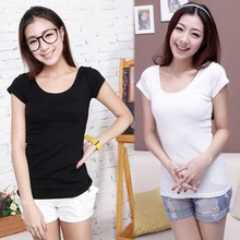 Hot plain Women Stretch Bottoming Casual Slim fitted blank T-shirts SV016945
