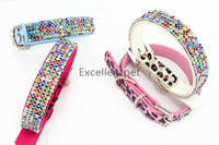 100% waterproof and eco-friendly pu leather dog collar with bling pet collar