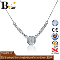latest products in market long pendant necklace , small 925 silver CZ diamond round circle pendant necklace
