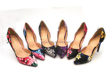 high heel new style oil painting women heels flower shoes a side empty special leather shoe