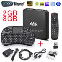Google android 4.4 M8 HD tv box with Quad core Amlogic S802 & 4K smart mini tv box can OEM/ODM