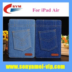 2015 Hot Selling Fashion Jeans Design Luxury Leather Case For iPad Air Wallet Flip Cover Card Holder
