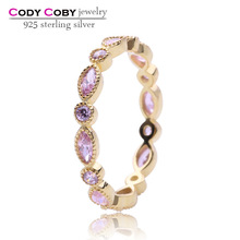 New arrival 18k gold plated rings 925 sterling silver ring with round & oval shaped pink CZ design for Women wedding jewelry