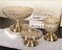 high qulity crystal decorative glass plate with metal base for wedding home decor centerpieces