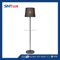 Outdoor floor lamp with rattan lampshade