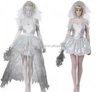 2016 very popular halloween dress fabric two tone wedding dress made from china