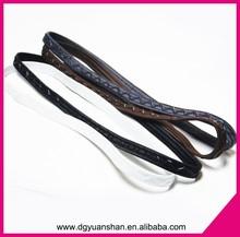 Wholesale elastic headband with silicone printed,thin sports headband