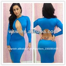 cd027 2014 reciente venta caliente nueva llegada sexy muy azul vestido de color