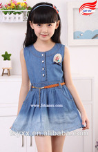 Beautiful ramped denim girls princess dresses