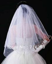 Elegant Wedding Veil Bridal Bride 2 Tier White Beaded Scalloped 11656