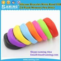 Hot Sale 8GB USB Flash Drive Silicone Bracelet Wrist Band USB2.0 Flash Memory Pen Drive Unique USB flash Drive U Disk Pendrives