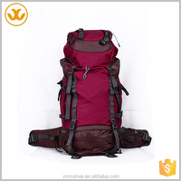 Hot sale custom logo portable waterproof ripstop dark red oxford hiking bag foldable backpack