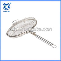 round stainless steel reinforced roasting grill basket