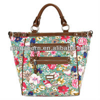 Flower Print Double Zippers Fashion Lady Canvas Tote Bags