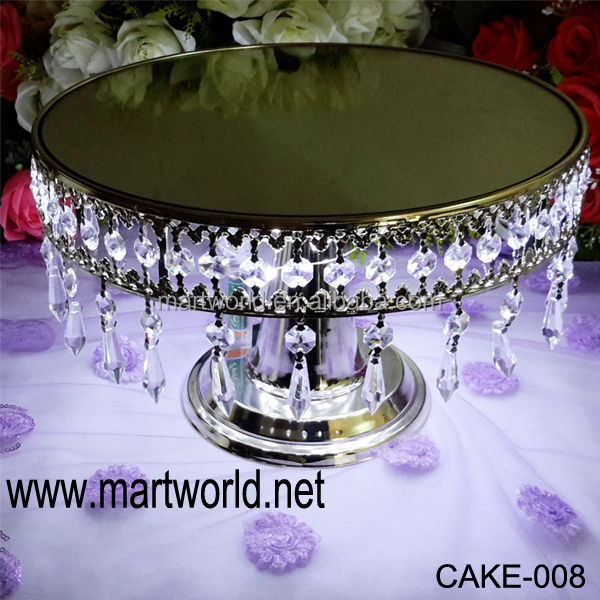 hot sale hanging crystals cake stand with led light for wedding home