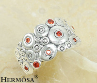Hot Fashion Red Garnet Topaz Round Picture Woman Party Festival Ruby Gift 925 Sterling Silver Ring