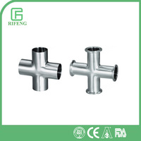 Elbow/TEE/Cross clamp Hygenic Stainless Steel Cross Pipe Fitting