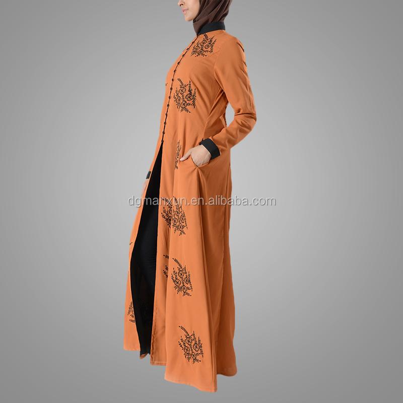 Latest embroidered muslim front open abaya islamic clothing for women turkish cardigan (2).jpg